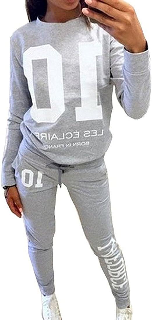 DTWYCQ Damen Jogginganzug Langarm Anzug Pullover Sportanzug Trainingsanzug Sweatshirt Anzug mit Hose 2pcs