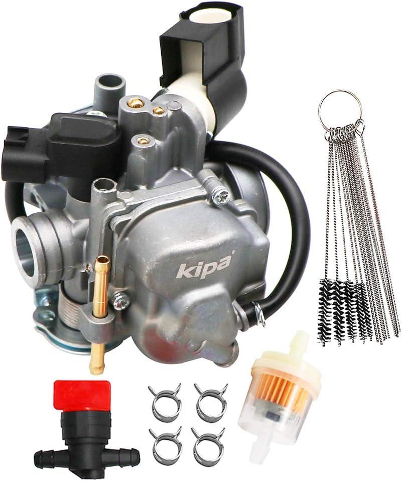 KIPA Carburetor For Honda Ruckus 50 NPS NPS50 NPS50S AC 2008-2019 With Fuel Filter Gas Fuel Petcock Valve & Carbon Dirt Jet Cleaner Tool Kit