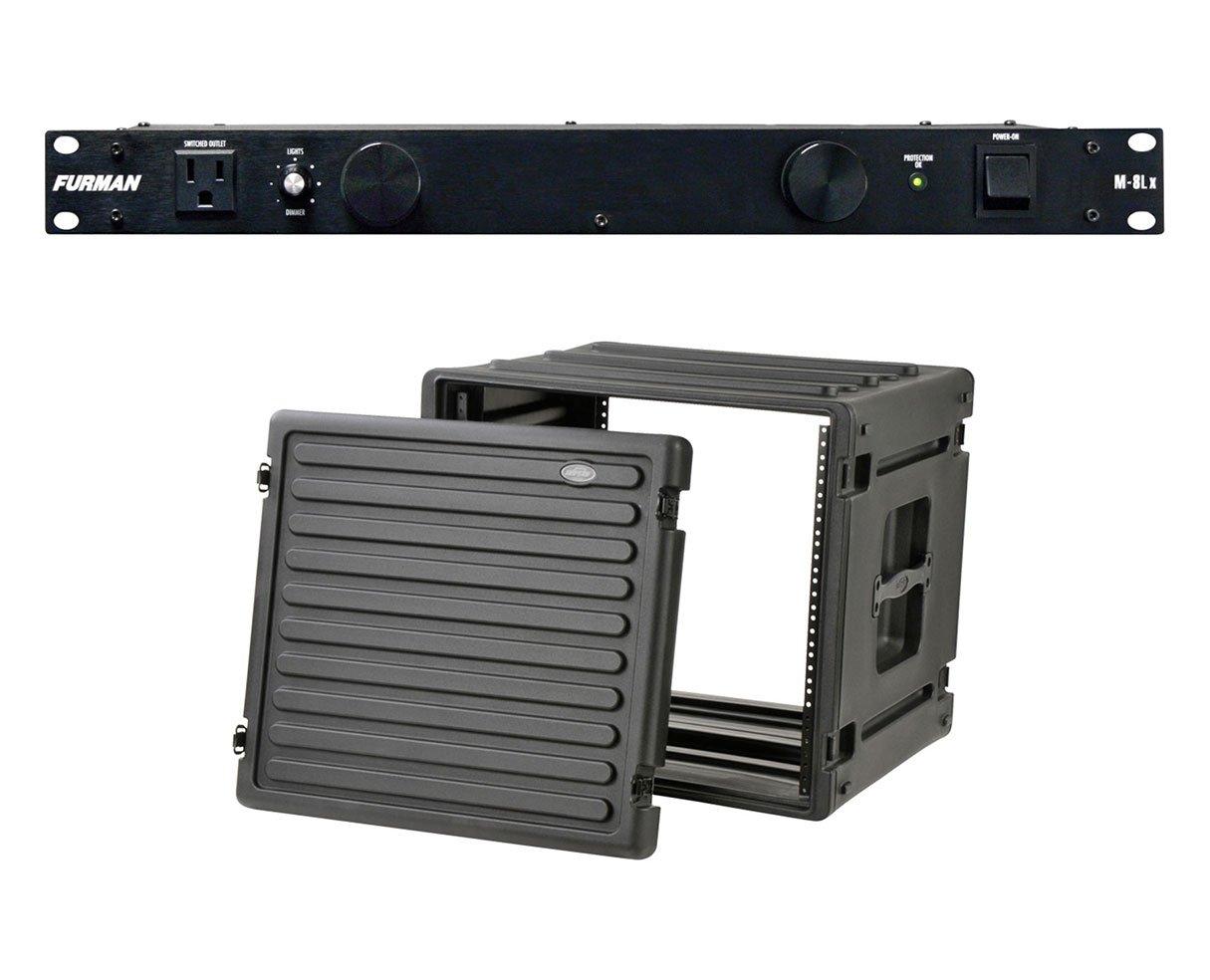 Furman M-8Lx 15 Amp Power Conditioner + SKB 1SKB-R10U Roto Molded 10U Rack