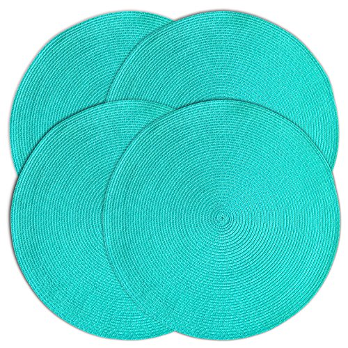 CAIT CHAPMAN HOME COLLECTION Round Braided Woven Polypropylene Plastic Placemats (Teal), Set of 4 (Round Placemats Teal)