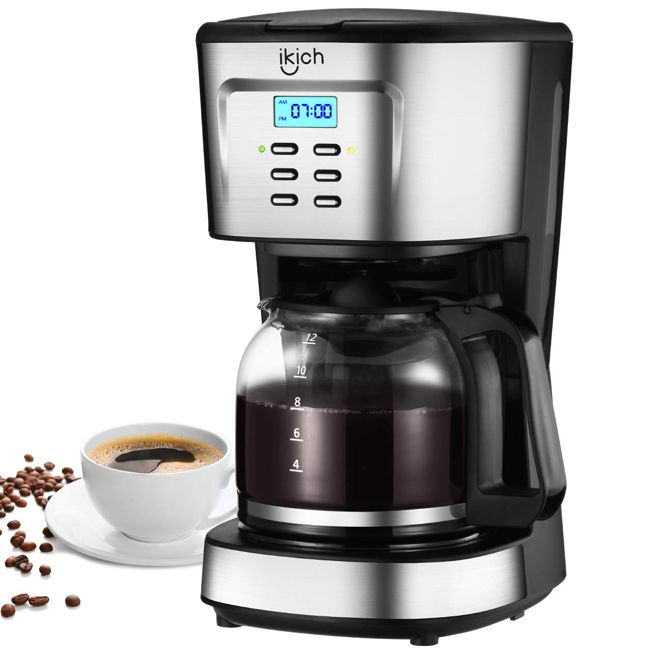 Drip Coffee Machine, IKICH 12 Cup Coffee Maker, 24h Programmable Smart Drip Coffeemaker Coffee Brewer with Glass Thermal Carafe, Permanent Filter and Stainless Steel Decoration for Home and Office