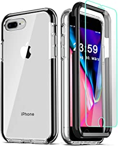 COOLQO Compatible for iPhone 8 Plus/iPhone 7 Plus/iPhone 6S/6 Plus Case, with [2 x Tempered Glass Screen Protector] Clear 360 Full Body Coverage Hard + Silicone TPU 3in1 Phone Protective Cover Black