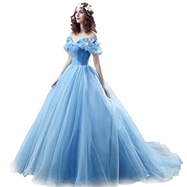 CEZOM Womens Cinderella Quinceanera Prom Dress Tulle Ball Gown Lace Up, Blue, Size: