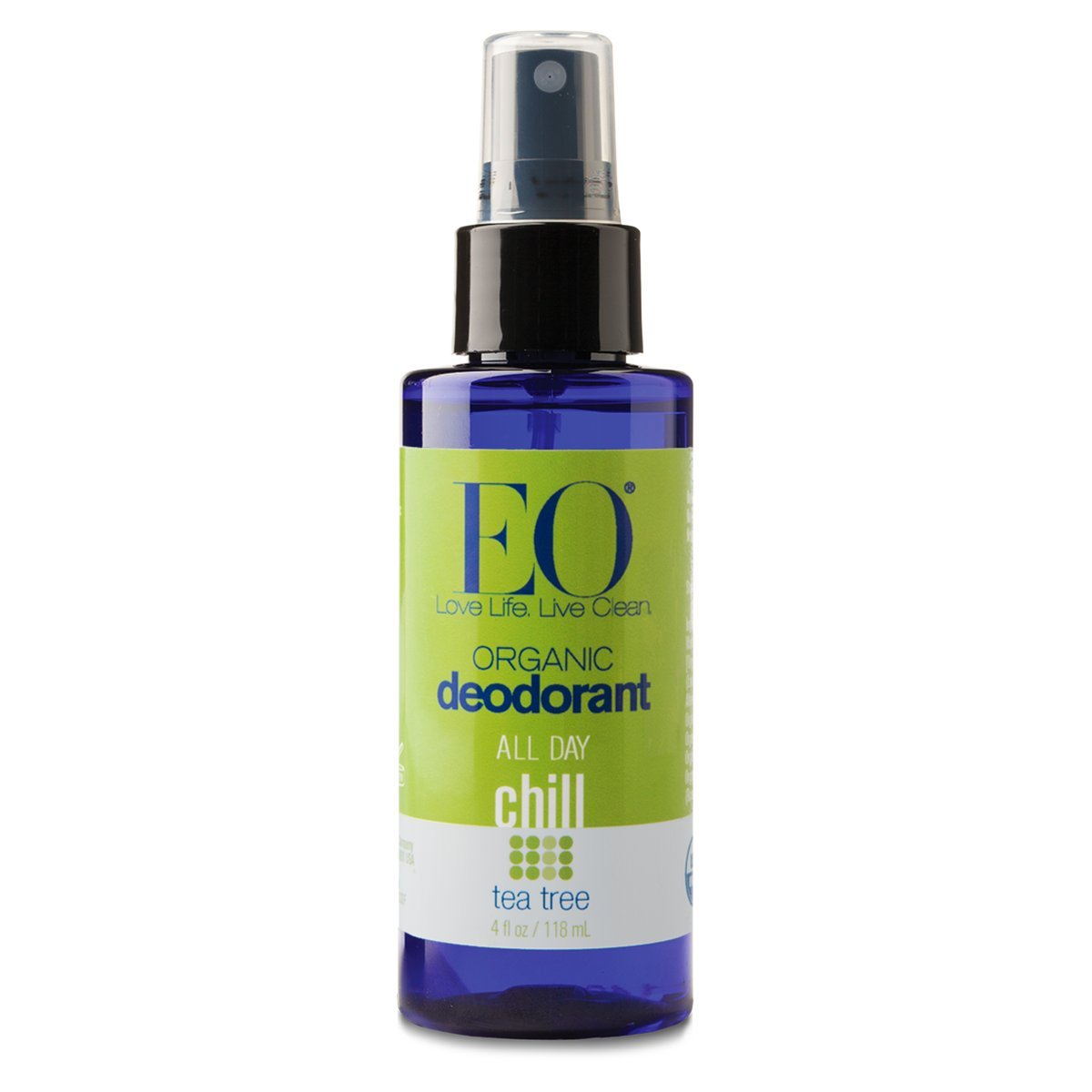 EO Organic Deodorant Spray, All Day Chill, Tea Tree, 4 Ounce (Pack of 24)