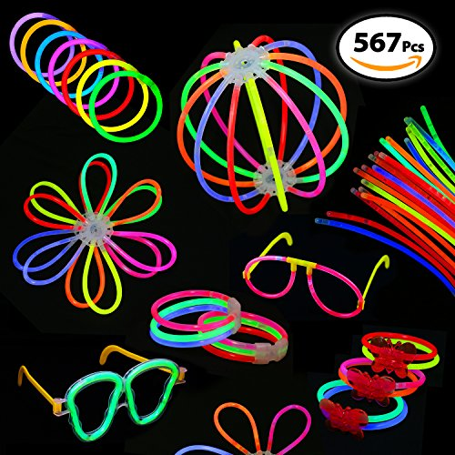 Bulk Pack of 567 Glowing Sticks - 250 Glow Sticks + 250 Connectors + 67 Connectors for Glow Necklace + Flower Balls + Triple Butterfly Bracelets and Luminous Glasses - Party Favors for Kids/Adults (Tricks With Glow Sticks)