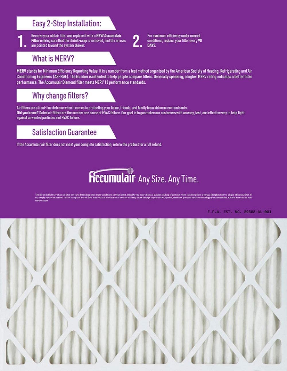 Actual Size Accumulair Diamond 6.88x15.88x1 MERV 13 Air Filter//Furnace Filters 2 Pack