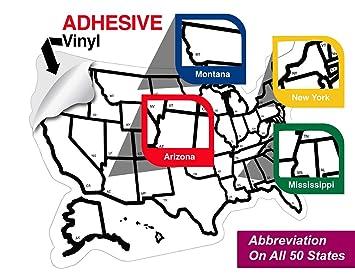 RV State Sticker Travel Map United States License Plate Non Magnet ...