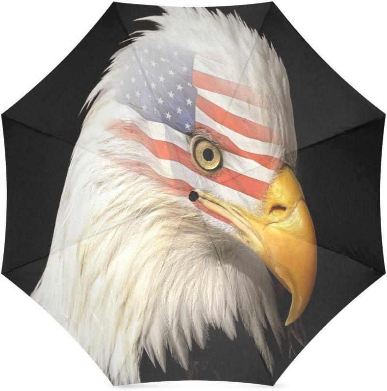 Custom American Flag with Eagle Compact Travel Windproof Rainproof Foldable Umbrella