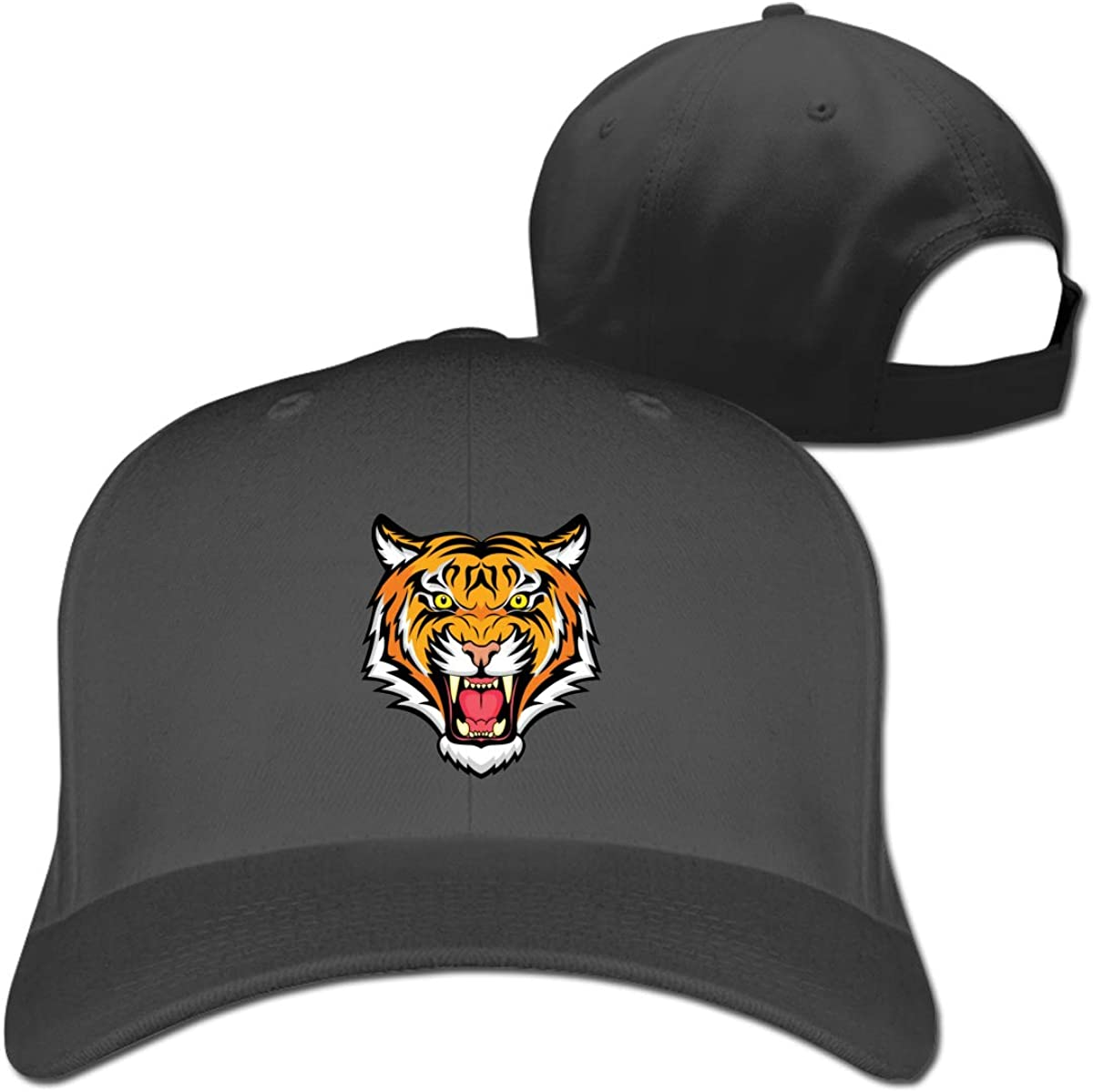 Cool Rawing Africa Tiger Fashion Adjustable Cotton Baseball Caps Trucker Driver Hat Outdoor Cap Black