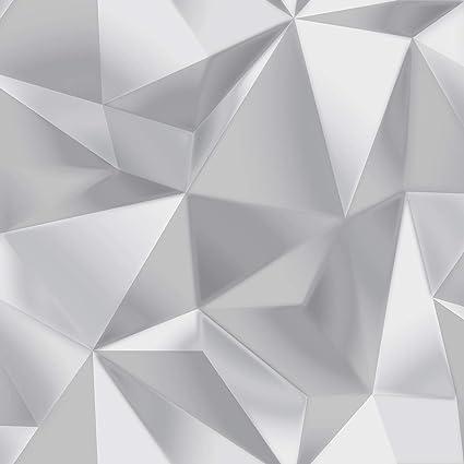 Spectrum Geometric Triangles Wallpaper Greysilver Debona
