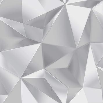 Papier Peint Spectre Triangles Geometriques Gris Argent