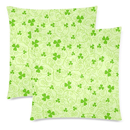 InterestPrint Spring St. Patrick Day Throw Pillow Cover Cushion Case 18x18, Green Swirl and Clover Leaves Zippered Pillowcase Set Shams Home Decorative, Set of 2