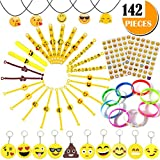 Emoji Party Supplies Kids' Dress-up Toys Bulk Set - 142 Pieces Emoticon Rubber Wristbands Bracelets Assorted Kit - Birthday Party Favor Decoration Mega Pack - Children Prizes Novelty Crafts Gift