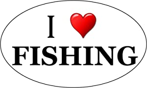 Rogue River Tactical I Love Fishing Heart Oval Fish Sticker Decal Fishing Bumper Sticker Auto Decal Car Truck Boat RV Rod Tackle Box