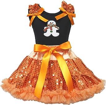 Navidad Vestido Jengibre Hombre Negro Camisa Naranja Falda de Lentejuelas Ropa de niña 1 – 8Y: Amazon.es: Ropa y accesorios