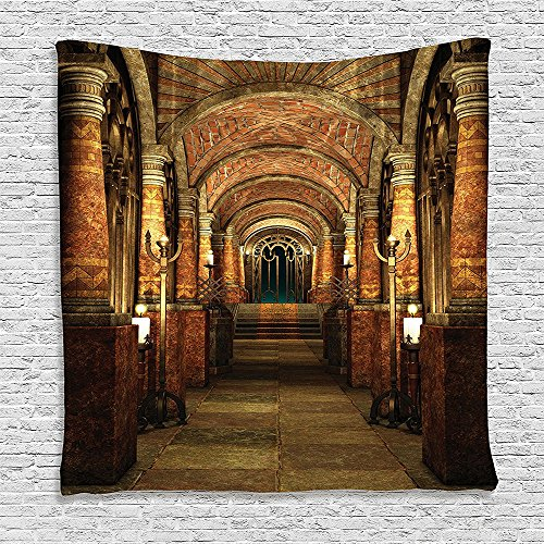 SCOCICI Supersoft Fleece Throw Blanket Gothic House Decor Ancient Passage with Stairways Secret Gateway Pillars Medieval Temple Theme Cocoa and Light Brown 59 x 59 Inches