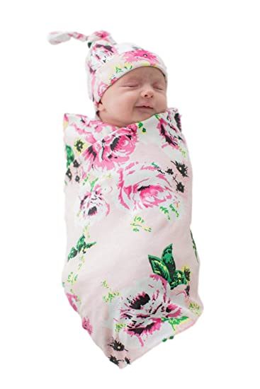 aa1144f9339 Amazon.com  Baby Be Mine Newborn Baby Swaddle Blanket with Matching Knotted  Hat