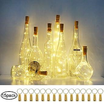 Paquete de 15) 20 luces LED para botellas de vino con corcho ...
