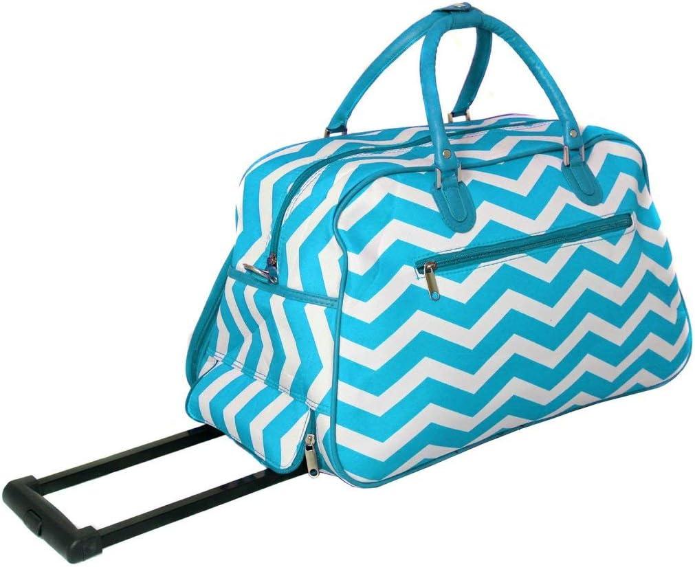 Purple Trim Lightweight Wheeled Duffle Bag Chevron Pattern Polyester Material