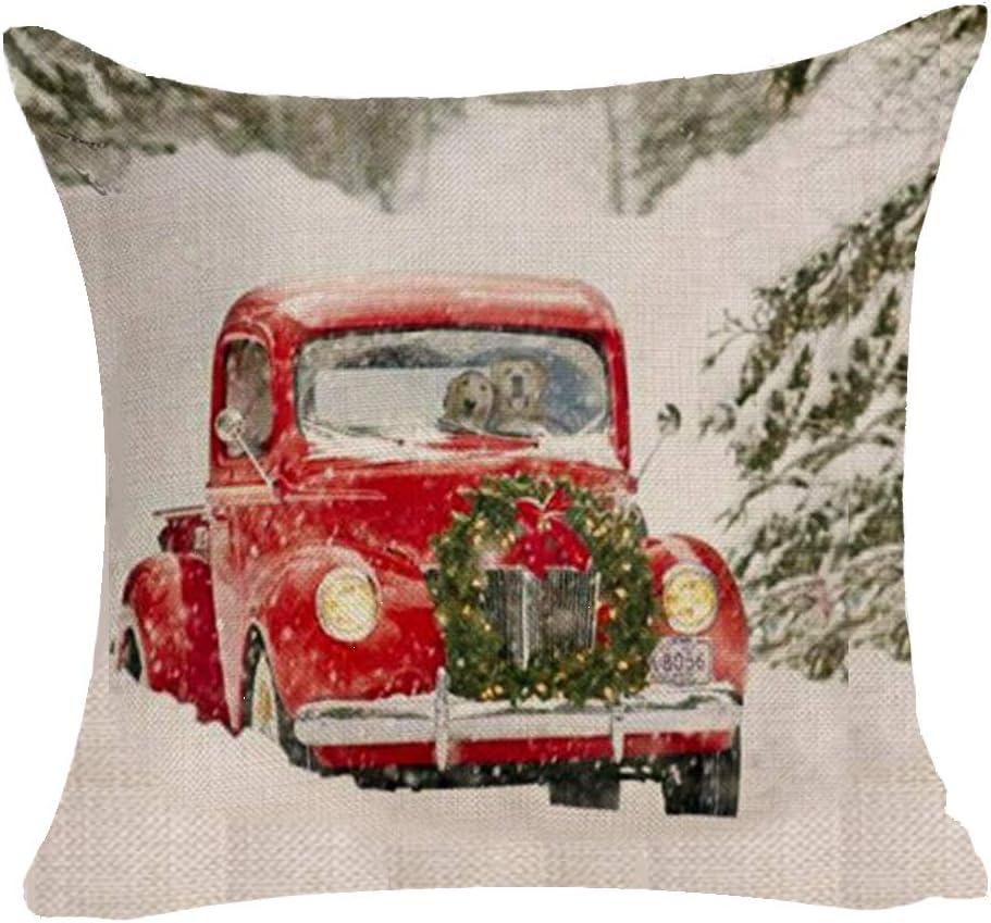 BUSAMEDO Merry Christmas Snowflake Red Car Gift Box Christmas Wreath Golden Retriever Durable Sweet Home Decor Throw Pillowcase Home Decorative Cushion Pillow Cover Square Sofa Couch 18 x 18 inch (B)