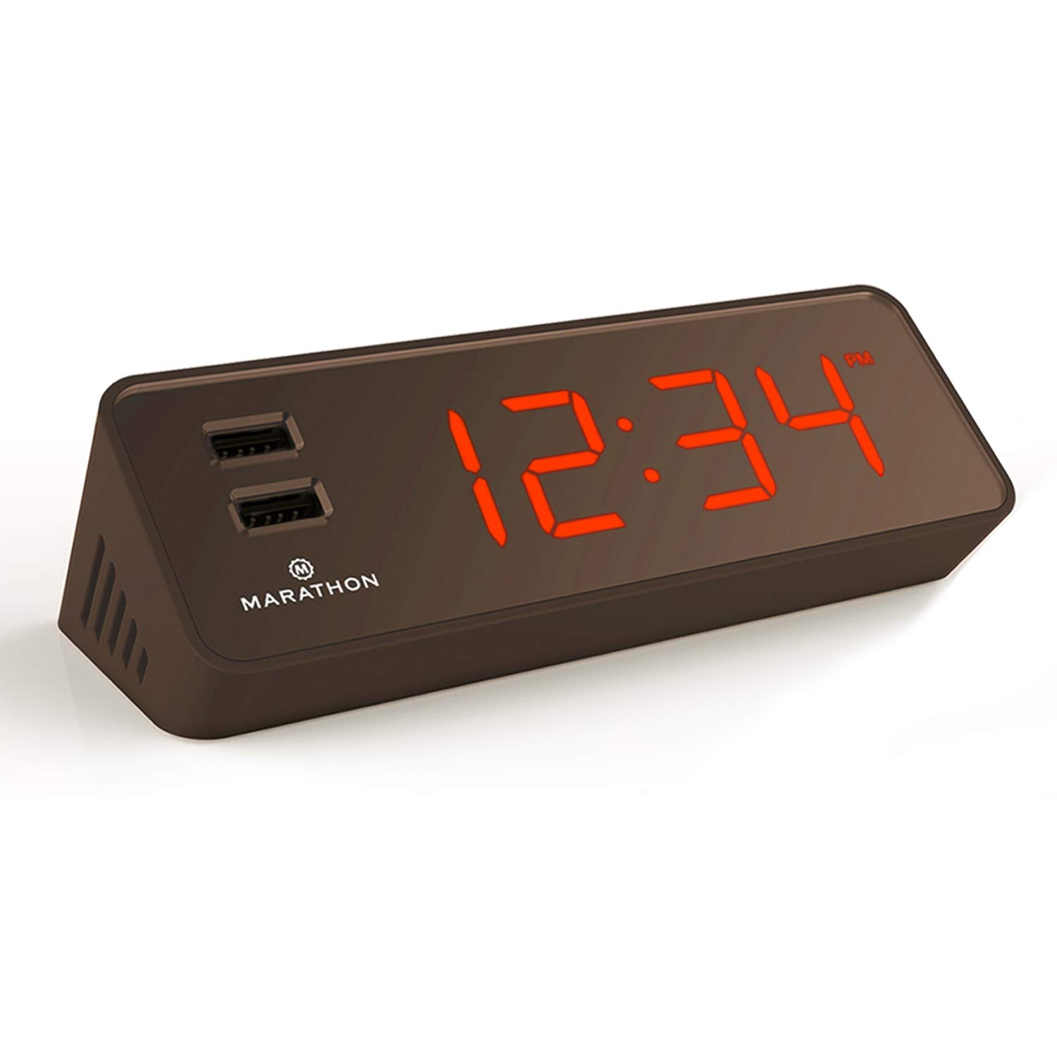 Marathon CL030055CO LED Alarm Clock with Two Fast Charging, Front Facing USB Ports. Great for Travelling. Hotel Commercial Grade (Coco)