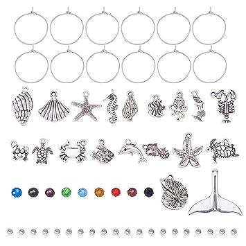 Set von 10 DIY Anh/änger Sets Halter Anh/änger in Alloy und Transparent Oval Glas Cabochons f/ür Schmuck PandaHall Elite antike Bronze