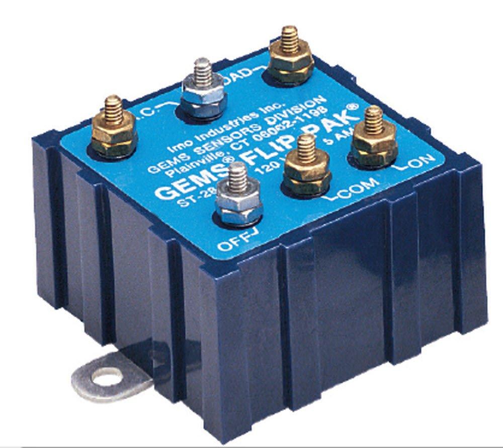 Gems Sensors 28196 Flip-Pak Non-Intrinsically Safe Relay, 100 to 130 VAC, 5A AC Current
