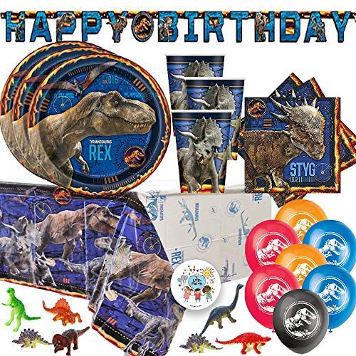 Jurassic World Dinosaur Fallen Kingdom Birthday Party Supplies Pack For 16 With Jurassic World Plates, Napkins, Tablecover, Cups, Birthday Banner, Balloons, Dinosaur Figurines, and Exclusive Pin ()