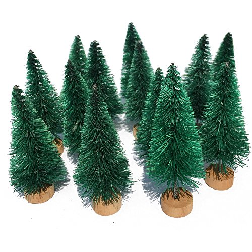 Mini Flocked Christmas Village Trees Small Size Plastic Faux Xmas Pine Tree Tabletop Wooden Base Stand for Crafts Frosted Christmas Tree DIY Gifts 2-1/2''H No Snow Dark Green -
