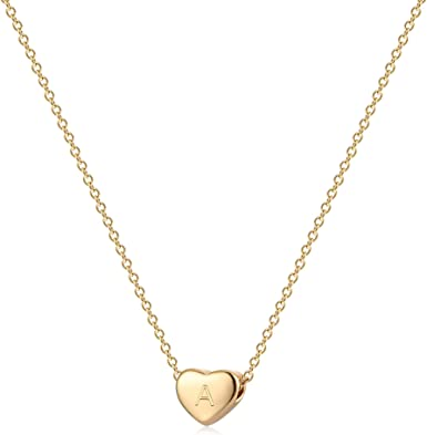 14K Solid Yellow Gold Cubic Zirconia Heart Pendant Necklace 16.5 Inches for Kids Girls Toddler