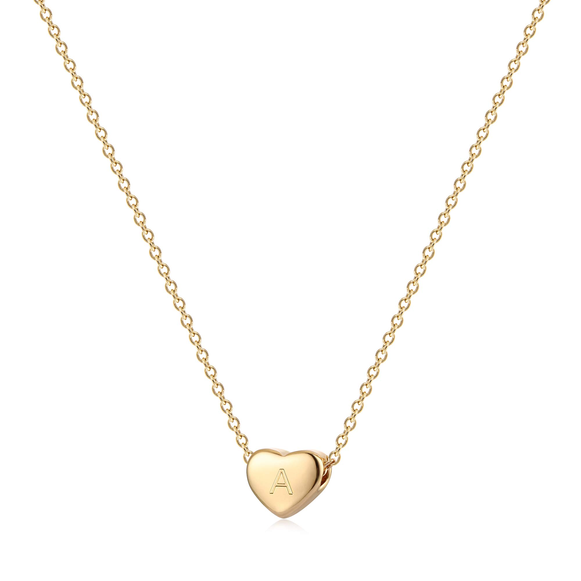 Tiny Gold Initial Heart Necklace 14k Gold Filled Delicate Cute Dainty Charm Initial Alphabet Letter Love Heart Choker Necklaces Best gift for Children