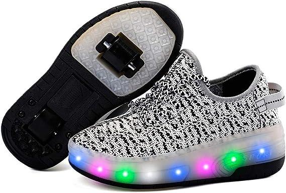 Enfants chaussures /à roulettes double roue chaussures de sport technique ext/érieur de skateboard extensible gymnastique baskets gar/çons filles