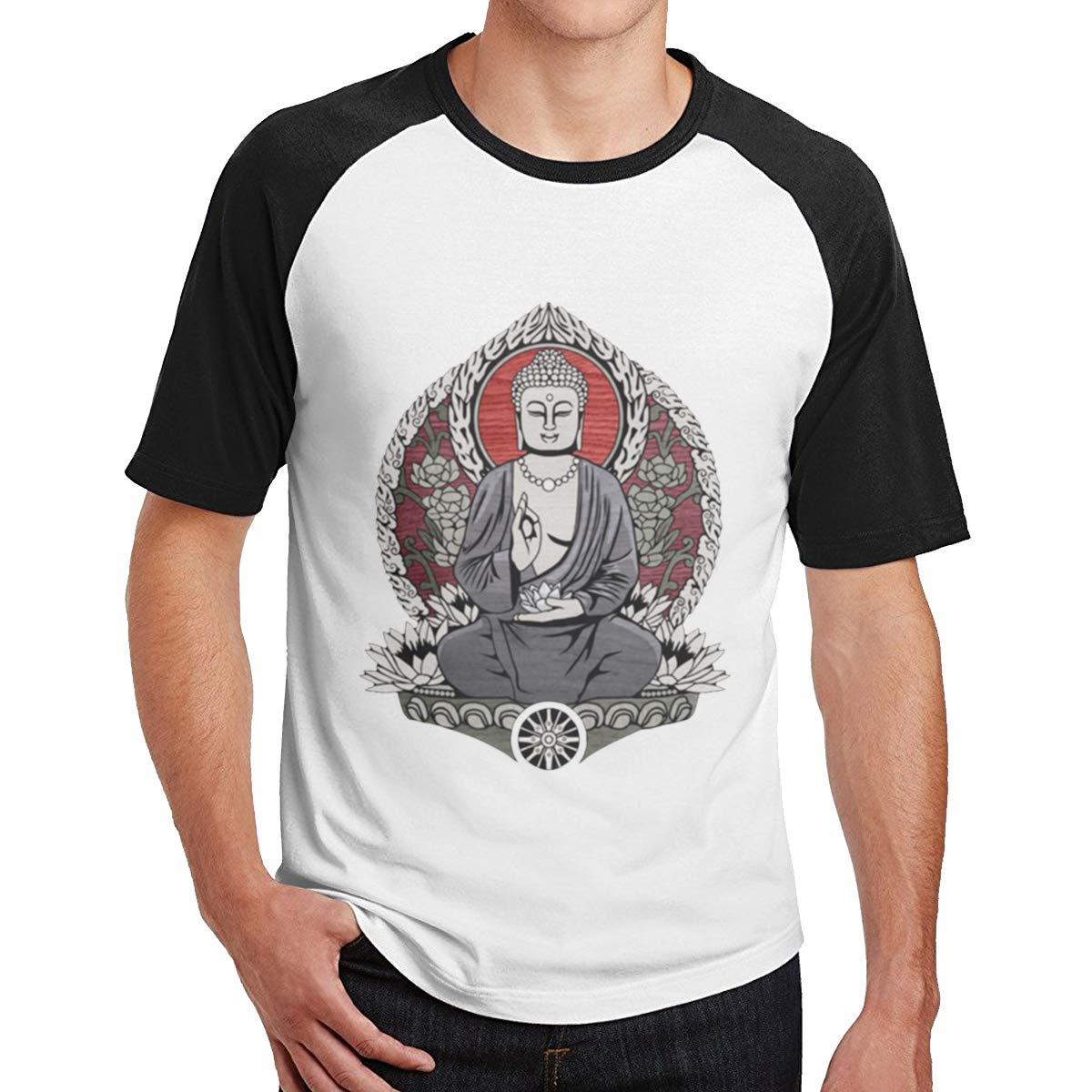 Seuriamin Siddartha Gautama Buddha Men Funny Travel Raglan Baseball Short Sleeve Shirts Tops