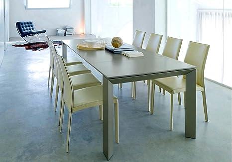 Bontempi Tavolo allungabile New Edro cm 160 in cristallo e legno ...