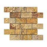 Scabos 2 X 4 Tumbled Travertine Brick Mosaic Tile (Lot of 50 sq. ft.)