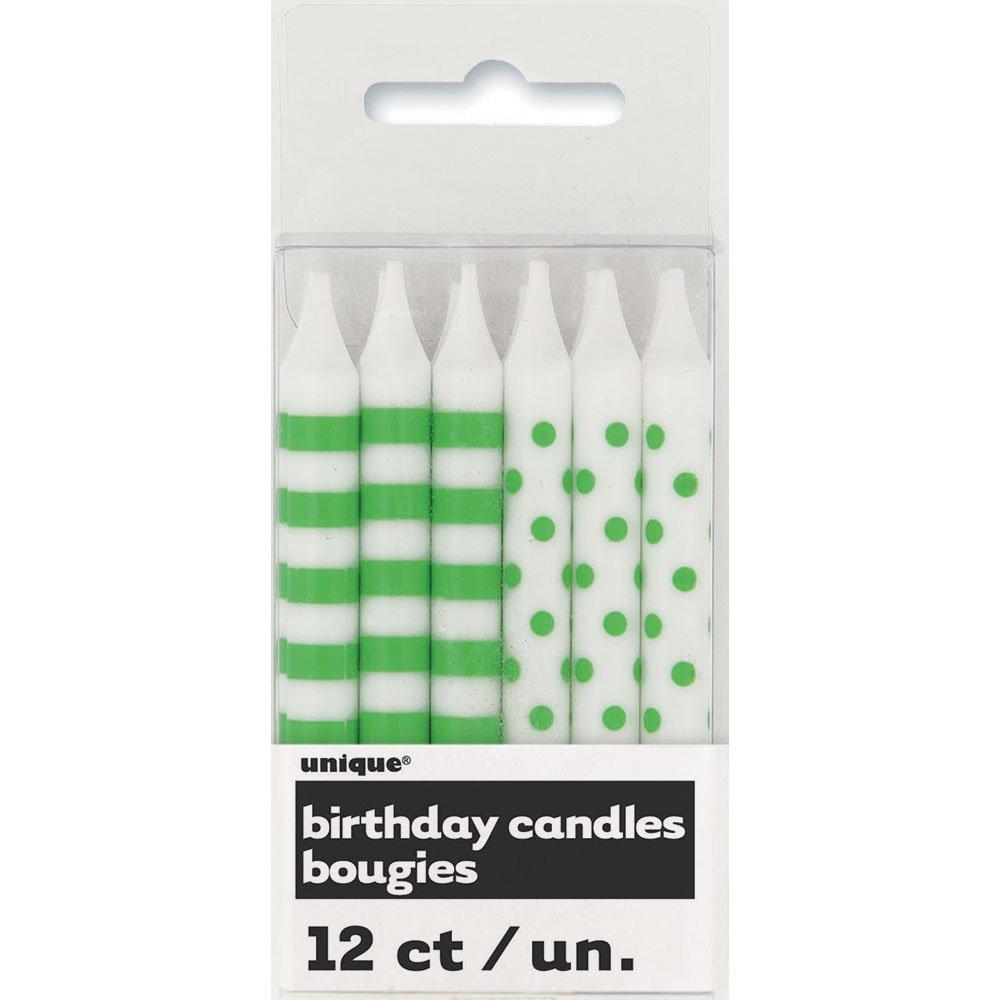 Lime Green Polka Dot & Striped Birthday Candles, 12ct