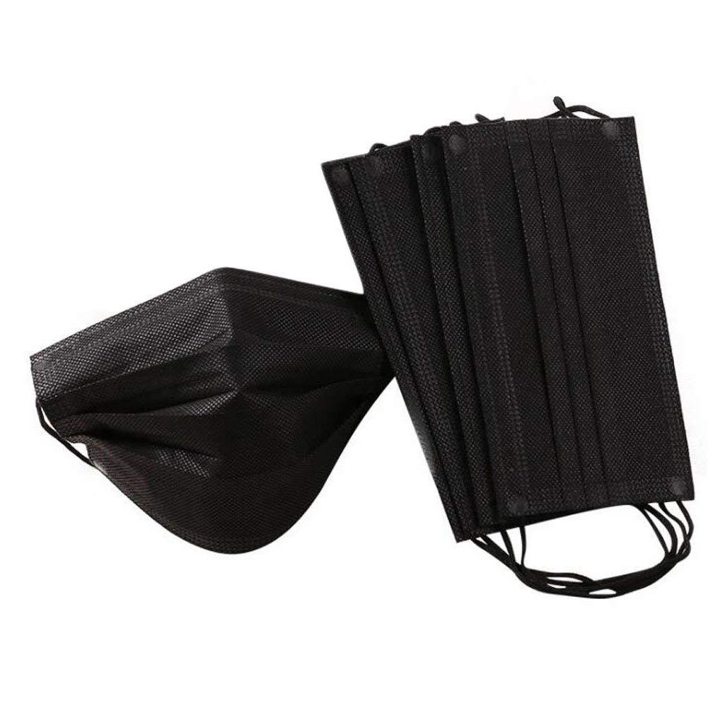 Ousyaah Facial Dispositivo de protección, 4 Capas con Aretes Elásticos, Actividades al Aire Libre, Salón de Belleza, Negro (100 piezas)