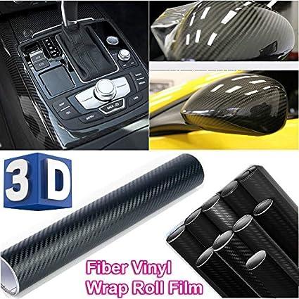 5D Glossy Carbon Fiber Vinyl Wrap Roll Film Sticker Car Bike Home Wall Black