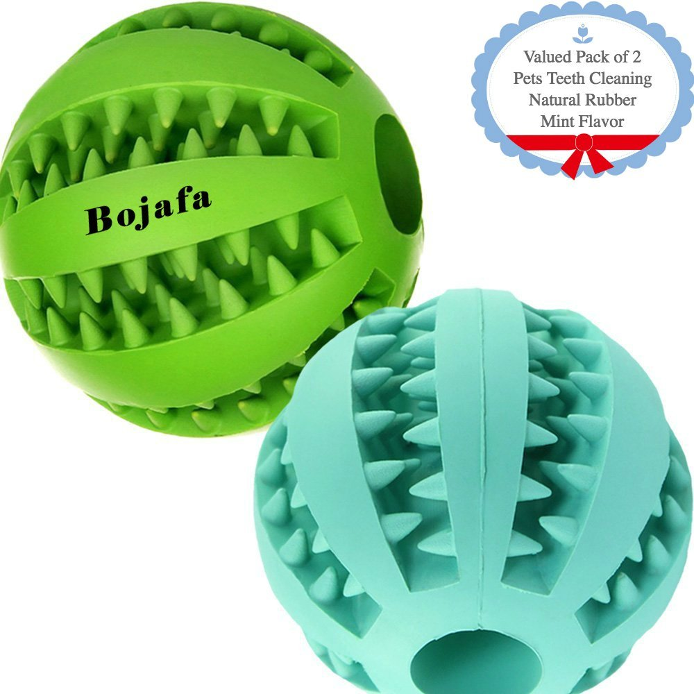 Bojafa Puppy Small Medium Dog Toys Balls (2 Pack) Rubber Durable Tough Dog IQ Toys for Pet Tooth Cleaning/Chewing/Playing/Treat Dispensing