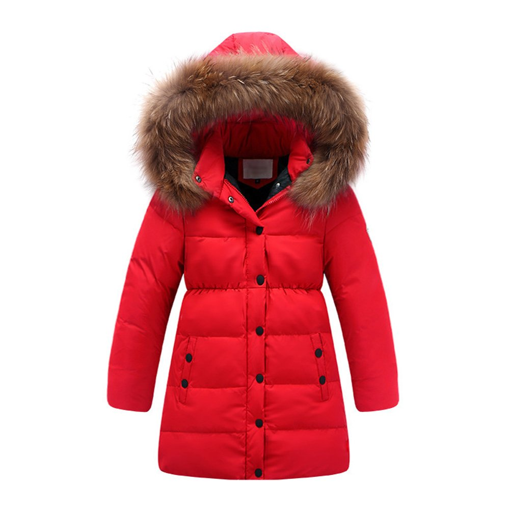 Kedera 2017 Big Girls' Winter Parka Down Coat Puffer Jacket Padded Overcoat with Fur Hood (T10-12, Red)