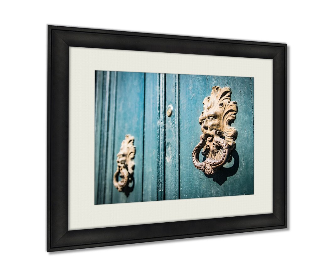 Ashley Framed Prints, Antique Door Knockers Of An Old Door, Wall Art Decor Giclee Photo Print In Black Wood Frame, Ready to hang, 24x30 Art, AG5405386