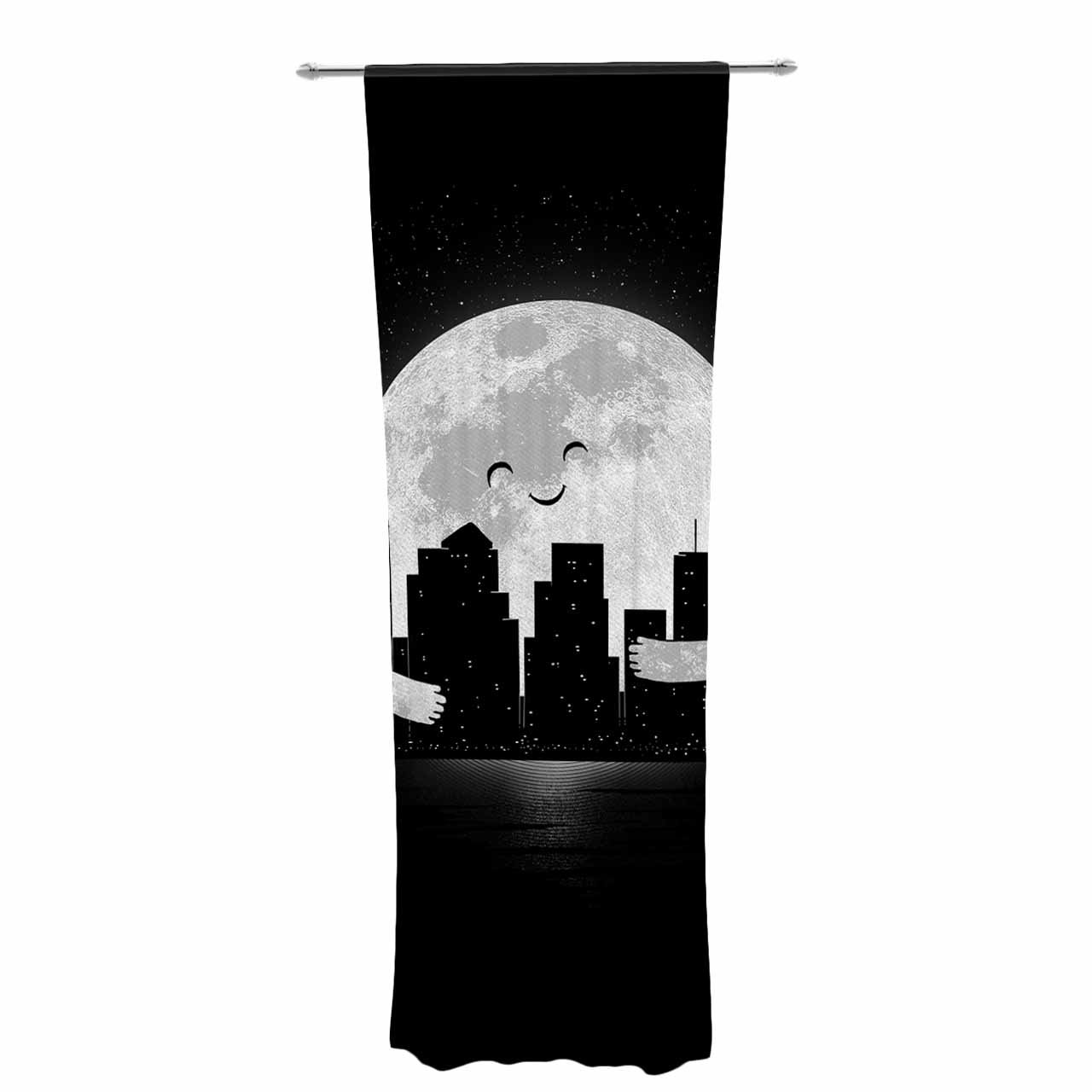 Kess Inhouse Digital Carbine Goodnight Black White Decorative Set 30 X 84 Sheer Curtains Panels Home Décor