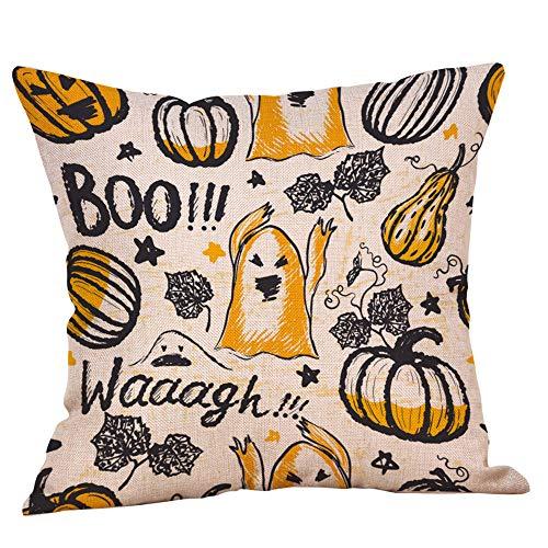GOVOW Halloween Pillows Decorative Throw Lillows Cases Linen Sofa Pumpkin Cushion Cover Home Decor