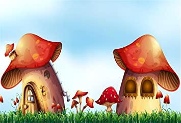 Mushroom 8x10 FT Photography Backdrop Spring Forest Toadstool House Cartoon Pattern Kids Fictional Fairytale Image Art Background for Baby Birthday Party Wedding Vinyl Studio Props Photography