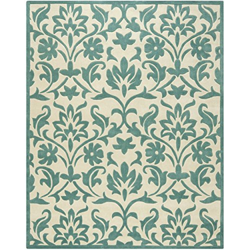 Safavieh Modern Art Collection MDA635A Handmade Floral Vines Ivory and Light Blue Polyester Area Rug (8' x (Blue Floral Vines Rectangle Rug)