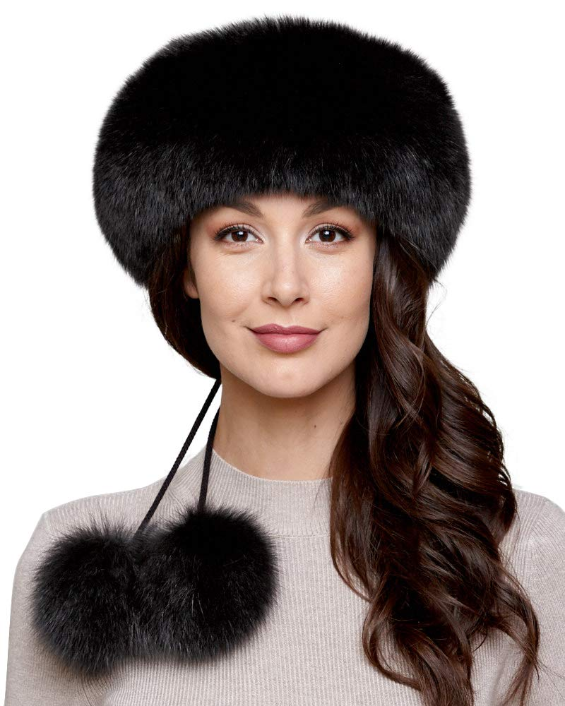 Black Fox Fur Headband with Pom Poms