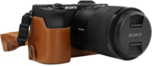 MegaGear Ever Ready Leather Camera Half Case Compatible with Sony Alpha A6600