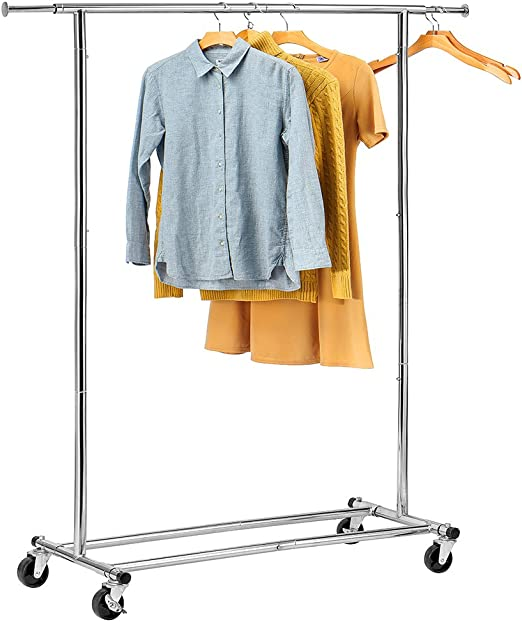 Single//Double Adjustable Portable Clothes Hanger Rolling Garment Rack Duty Rail