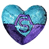 Mermaid Throw Pillows,Two-color Reversible Sequins Mermaid Heart-Shaped Pillow Cover with Interior (Bright Green/Purple)