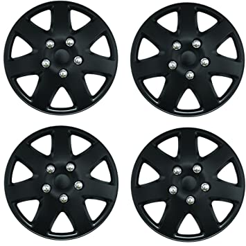 "CITROEN C1 Tempest 15"" Inch Car Wheel Trims Hub Caps Plastic Covers Black"